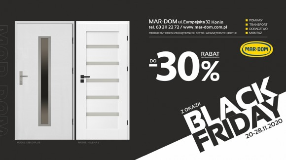 Promocje z okazji Black Friday na drzwi, okna, panele, kostkę brukową w MAR-DOM Konin